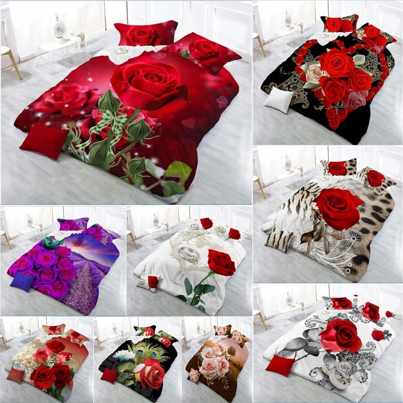 3D Red Rose Bedding Set Linen Flower Double Bed Sheet King Duvet Quilt Cover Bedclothes Pillowcase 4pcs/set Home Textile Beauty