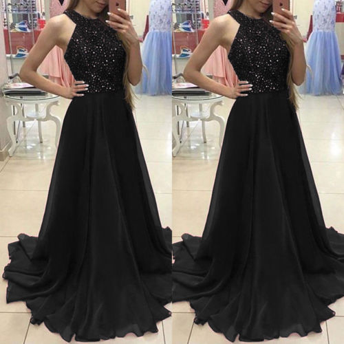 Women Lady Lace Long Formal Wedding Ball Gown Party Halter Sequin Maxi Dress