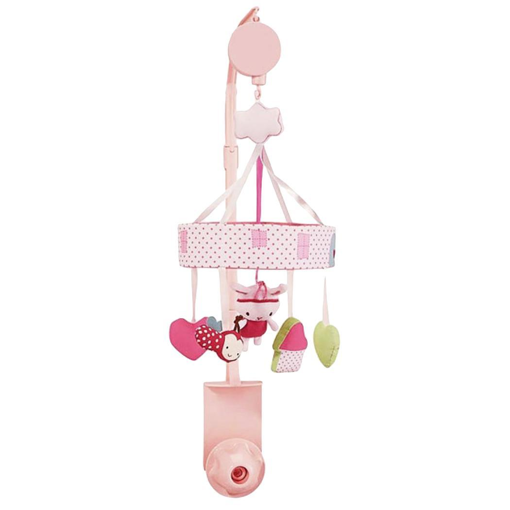 Baby Durable Cute Rabbit Star Bed and Rabbit, Rotating Bed Pink, White Bell Music Years Old Toy
