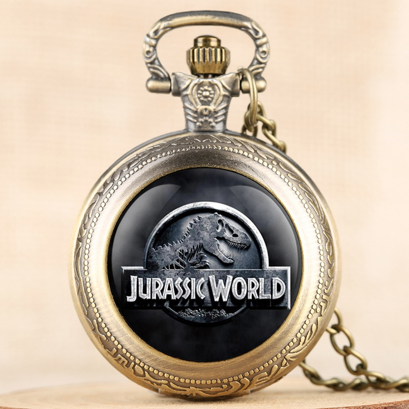Jurassic World 2 Dinosaur Building Blocks Quartz Pocket Watch Necklace Jurassic Dinosaur Figure Bricks Tyrannosaurus Rex Pendant