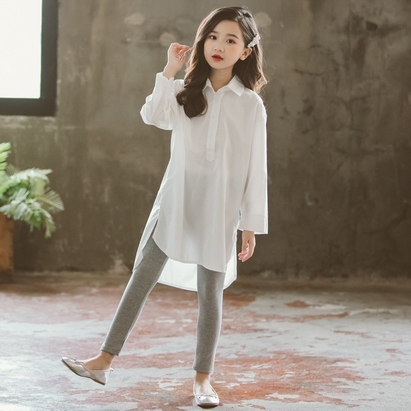 3d5592cd Teen Dress Shirts For Girls Teenage School Long Little Kids Girls Blouse  2019 White Long Sleeve Tops Children Clothing Spring