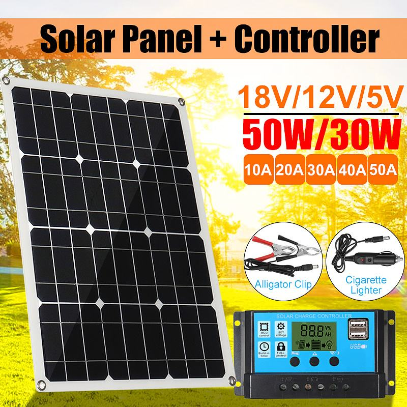Solar Panel 18V 50W 2 USB Solar Charger Solar Cells Poly Solar Panel + Controller For 12V Car Battery MC4 Cable 10/20/30/40/50ASolar Panel 18V 50W 2 USB Solar Charger Solar Cells Poly Solar Panel + Controller For 12V Car Battery MC4 Cable 10/20/30/40/50A