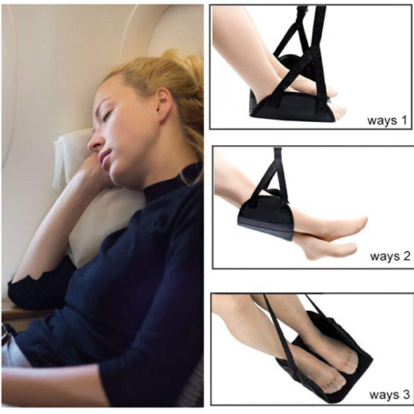 Portable Travel Airplane Foot Rest Made with Memory Foam Flight Hammock WXV Sale image