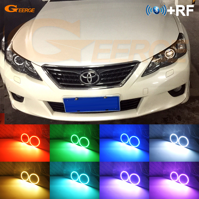 For Toyota Mark X Reiz 2010 2011 2012 Excellent RF Bluetooth Controller Multi Color Ultra bright RGB LED Angel Eyes kit