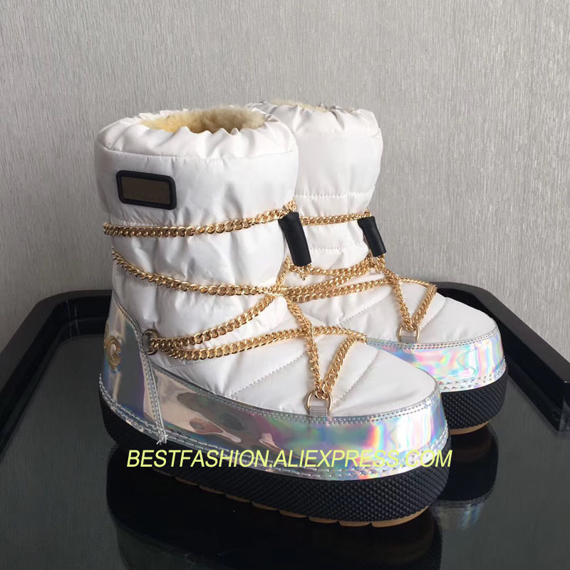 Newest Shoes Woman Winter Boots Ankle Shearling Snow Boots Wool Fur Cozy Chain Boots Platform Design Waterproof Snow Boots