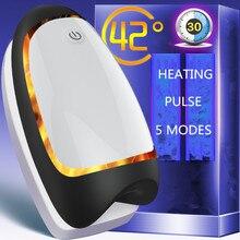 лучшая цена 2 In 1 Male Masturbators Male Delayed Training Masturbation Cup Smart Heating Pulse Electric Waterproof Penis Massagers Handheld