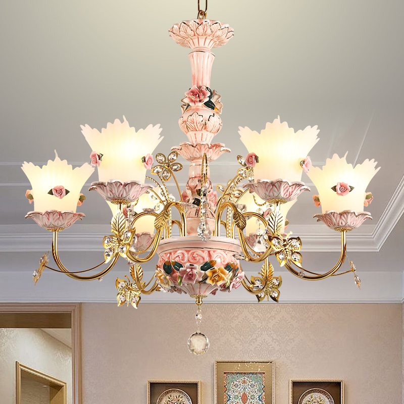 Colorful Sitting Room Crystal Chandeliers For Living Room Ceramic Lamp Pastoral Children S Room Modern Led Hotel Chandelier Best Sale D9bf Cicig