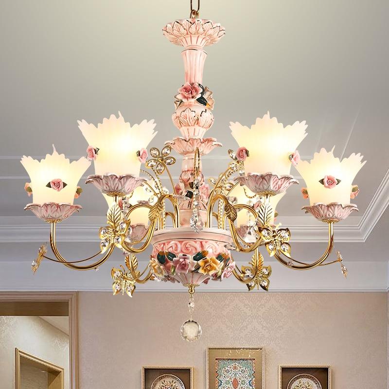Colorful Sitting Room Crystal Chandeliers For Living Room Ceramic Lamp Pastoral Children S Room Modern Led Hotel Chandelier Best Sale D9bf Cicig