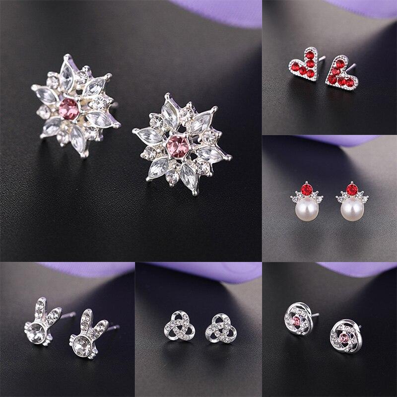 A-z S925 Silver Rhinestone Letter Stud Earrings For Women Girls Fashion Jewelry Wedding Sweet Shining Simple Charming Angel Stud Earrings Earrings