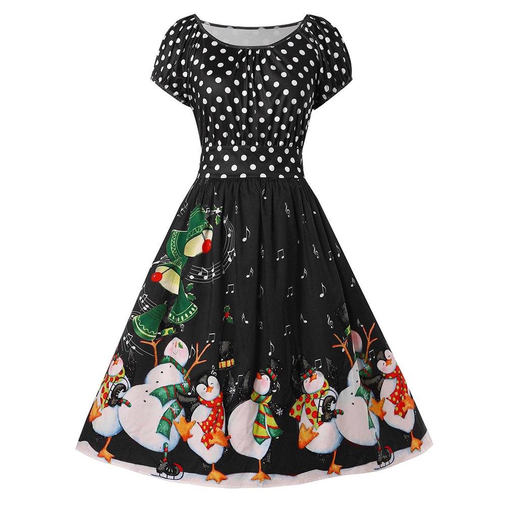 Joineles Plus Size Polka Dot Women Vintage Dress Black ...