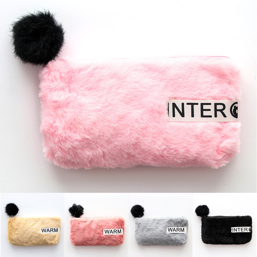 Portable Plush Pen Bag Student Fashion Cute Hair Ball Zipper Pencil Case School Office Stationery Large Capacity Organizer ~