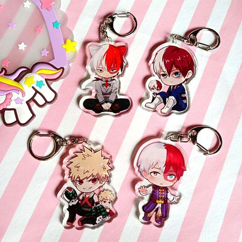 Fashion Anime My Hero Academia Key Chains Holder Acrylic Buku No Hero Academia My Hero One's Justic Keychains Keyrings Jewelry