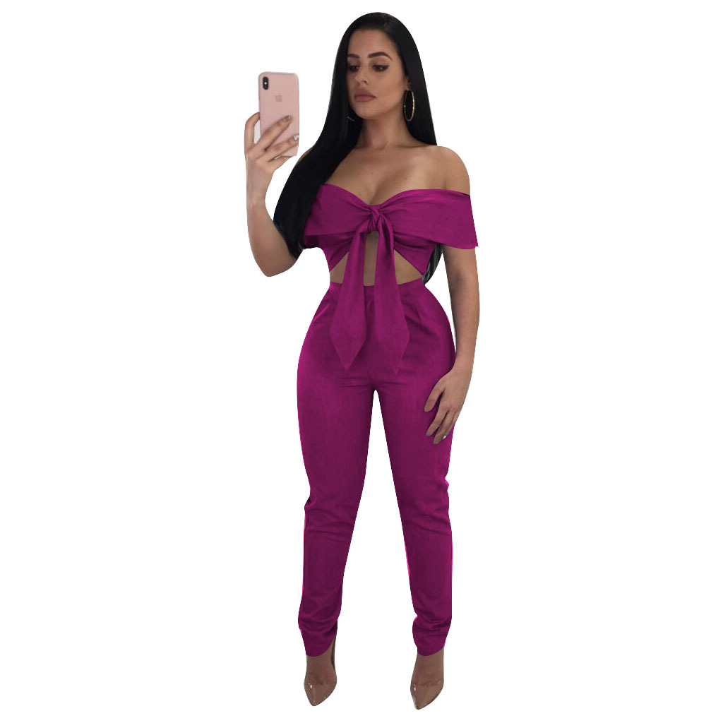 two piece set top and pants bow sexy crop tops off shoulder slash neck wide leg pant streetwear