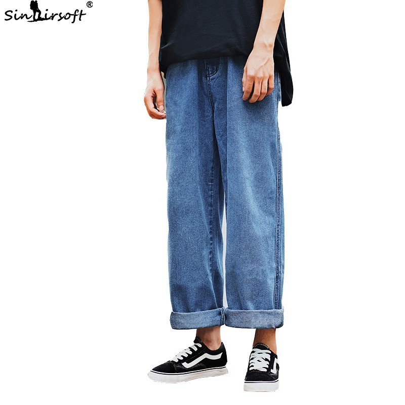 Men's High Street Pops Pants Male Loose Wide Leg Skateboard Jeans Straight Streetwear Trousers Hip Hop Casual Ankle-Length Pants