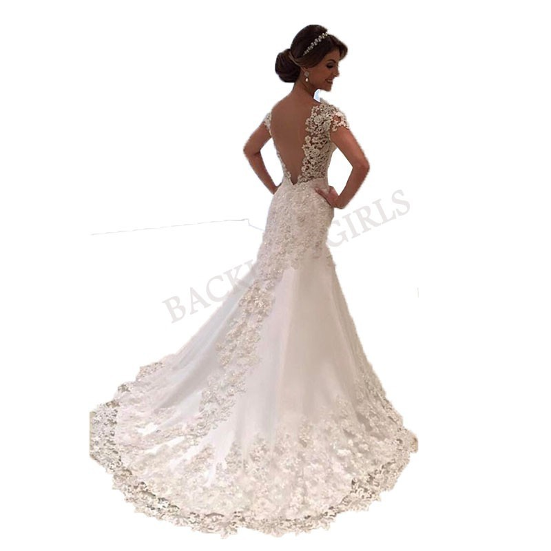 Wedding dress V neck vestido de noiva sleeves robe de mariee backless mermaid wedding dresses Bridal wedding grown 2019