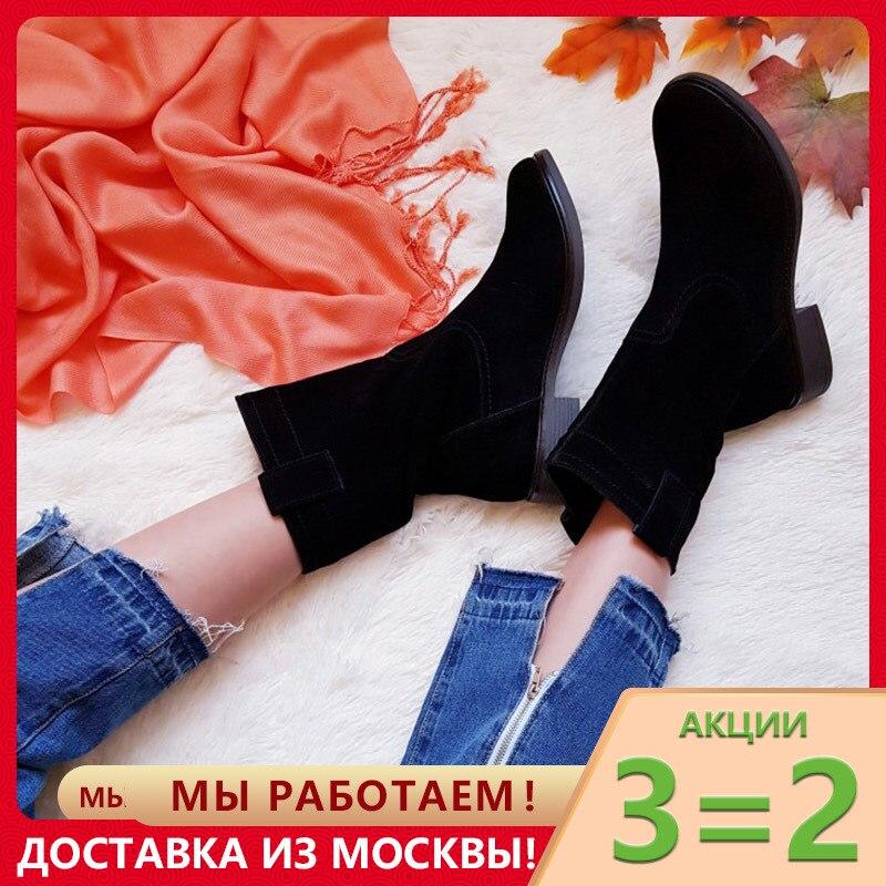 GOGC 100% Genuine Leather Winter Boots Women Suede Waterproo