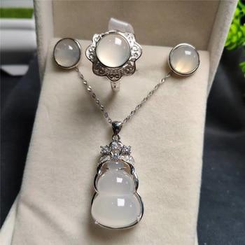 Koraba 3pcs 925 Sterling Silver Natural White Gourd Jade Gemstone Pendant Necklace Bracelet Earrings Women Jewelry Set