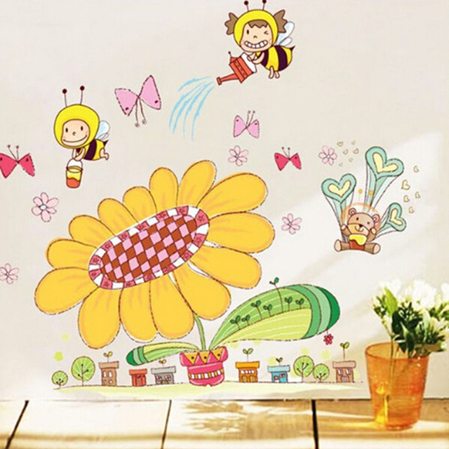 Us 5 6 Removable Wall Stickers Cute Cartoon Children Room Nursery Classroom Layout Decoration Painting Bees Sunflower Free Shipping In Wall Stickers