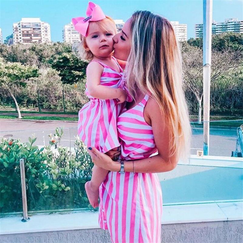 Mommy And Daughter Striped Matching Clothes Family Clothing Mother Daughter Dresses Party Mini Dress Women Dress Girls Dresses