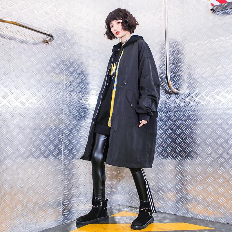À Cardigan Capuchon Hip Marée Noir Long vent Surdimensionné Tranchée Harajuku 5545 Manteau Streetwear Femmes Hop Lâche Automne Coupe Epwq4SX