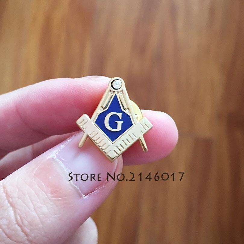 100pcs Wholesale Customized Pins Free Masonry Square and Compass with G Rhinestone Masonic Lapel Pin Badge