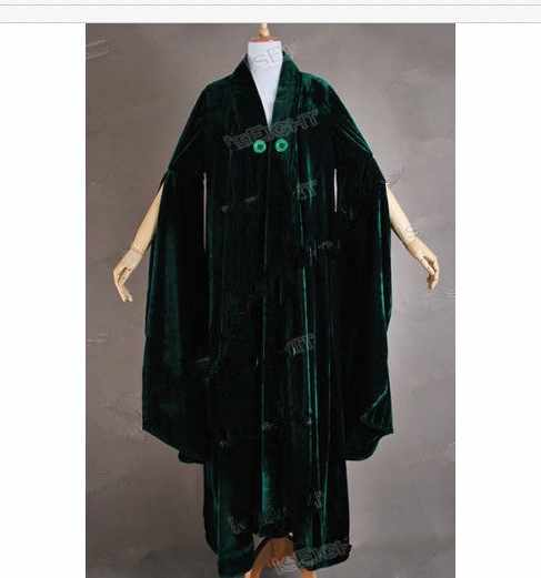Movie Potter Professor Professor Minerva McGonagall robe Professor McGonagall costume Green velvet Role Play dresses