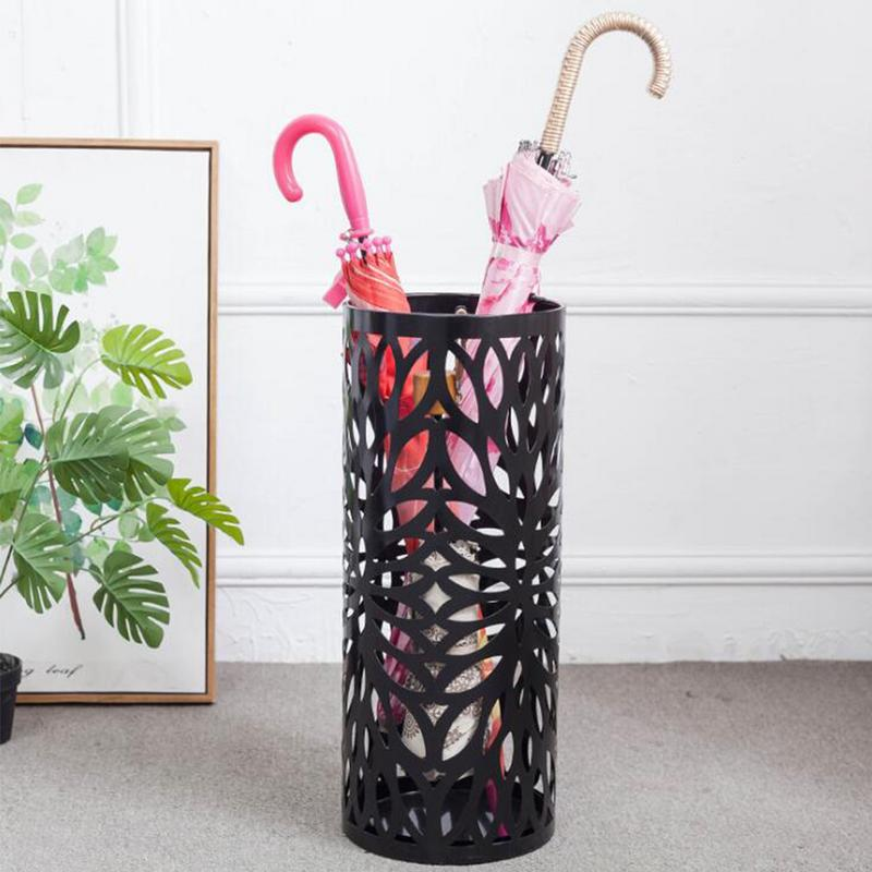 Umbrella Stand Rack Hollowed Metal Umbrellas Draining Can Storage Holder Shelf For Home Hallway Entryway Office