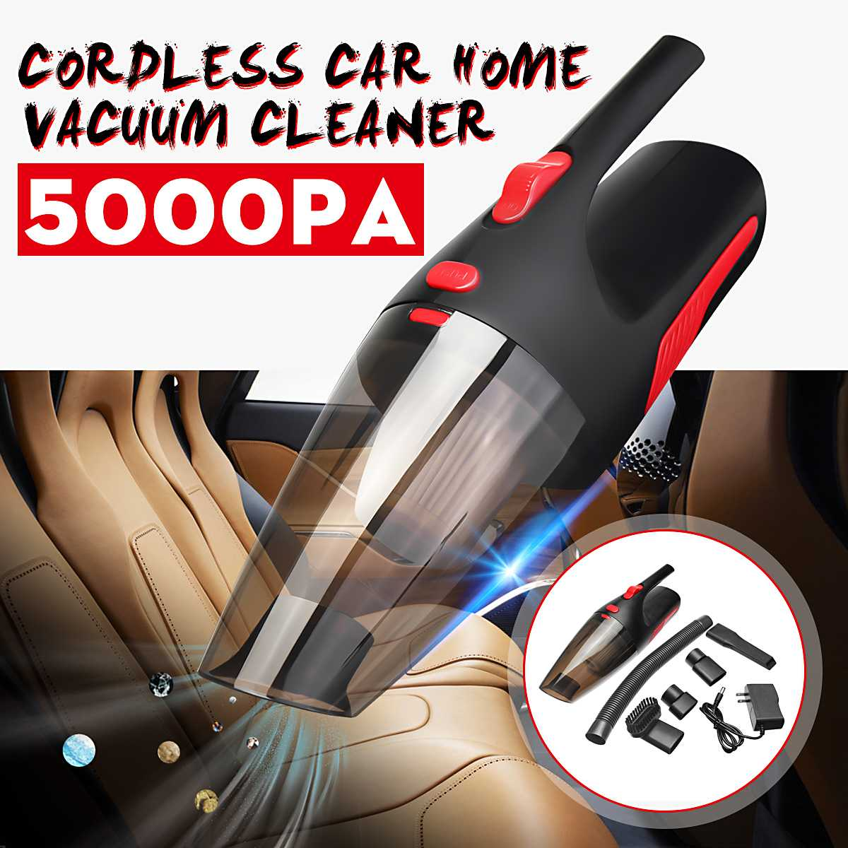 Newest 120W 5000PA Portable Car Vacuum Cleaner Cordless Handheld Rechargeable Wet/Dry Cleaner Household Cleaning Tools For Home Vacuum Cleaners    - AliExpress