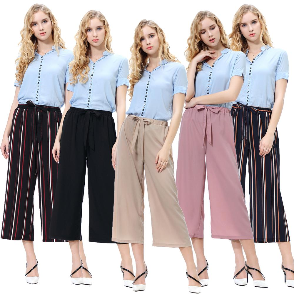 New Women Cropped Pants Wide Leg Capris Trousers 3/4 Long Palazzo Lounge Lace Up Casual Loose Streetwear OL Spring Summer Pants