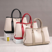 PRAVESDA 100% genuine leather and canvas patchwork tote bags ladies hot sale casual garden bags