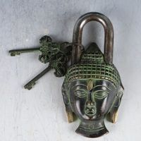 Collectable Chinese Brass Carved Kwan yin Bodhisattva Lock Key Exquisite Small Statues