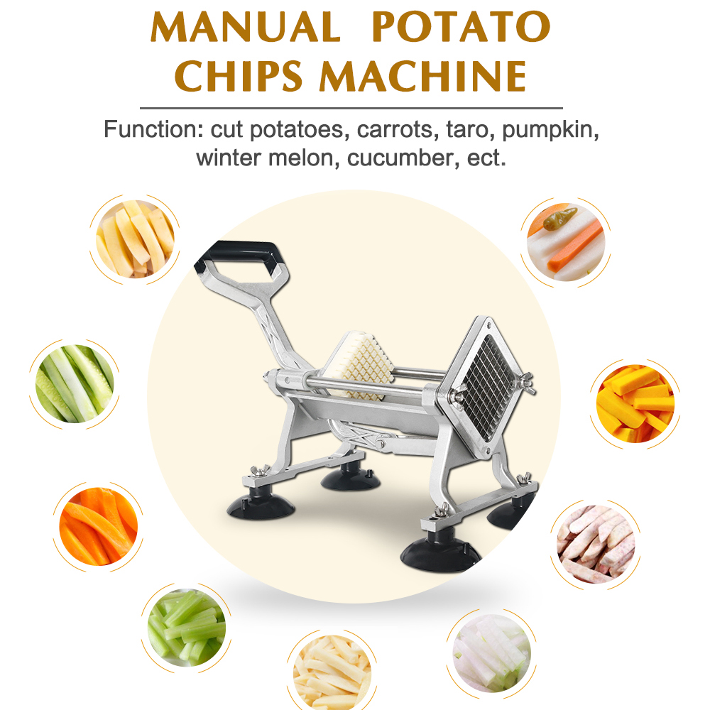 Potato French Fry Cutters Slicer Stainless Steel Vegetable Fruit Cutting Machine Potato Chip Slicer Kitchen Tool 6/9/13mm Blades