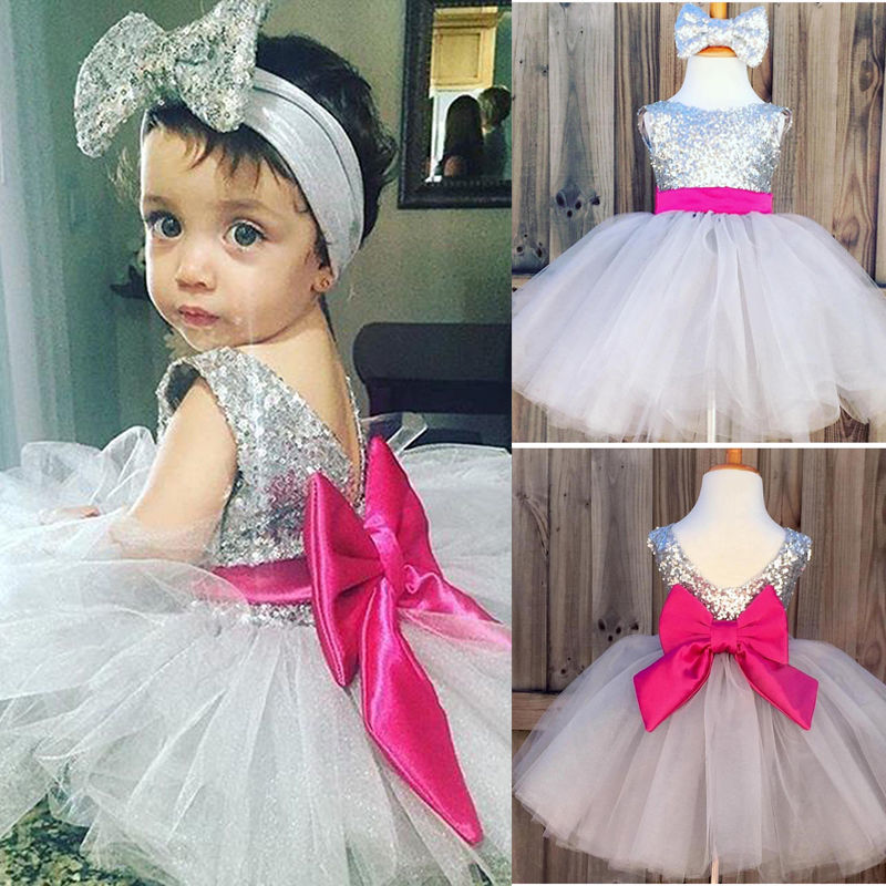 Toddler Kids Newborn Baby Girl Dress Sequin Bow Sleeveless Bridesmaid Wedding Party Mesh Pageant Headband Tutu Dresses
