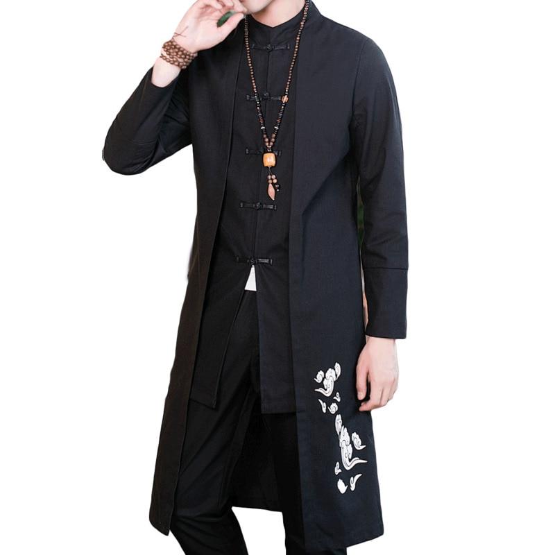 #4008 Gerade Gefälschte Zwei Stück Baumwolle Leinen Graben Mantel Männer Plus Größe Stehkragen Stickerei Vintage Chinesischen Stil Kleidung Den Menschen In Ihrem TäGlichen Leben Mehr Komfort Bringen