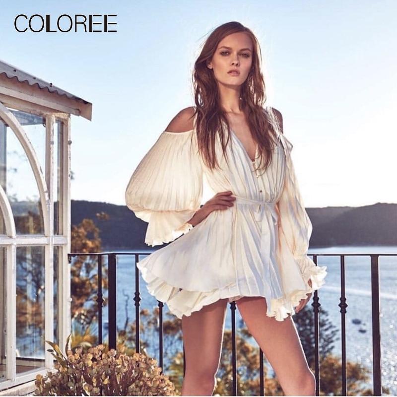 Vacances bohème plage robe 2019 printemps élégant volants v-cou lanterne manches Beige courte robe avec boutons