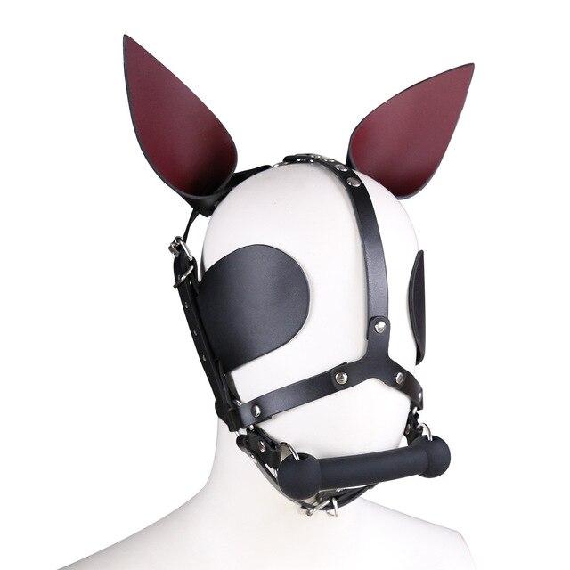 Genuine Leather SM Headgear Eye Mask Mouth Gag Plug Bondage Restraint Role Play Couple Game Exotic Adult Slave BDSM Sex Toy 4