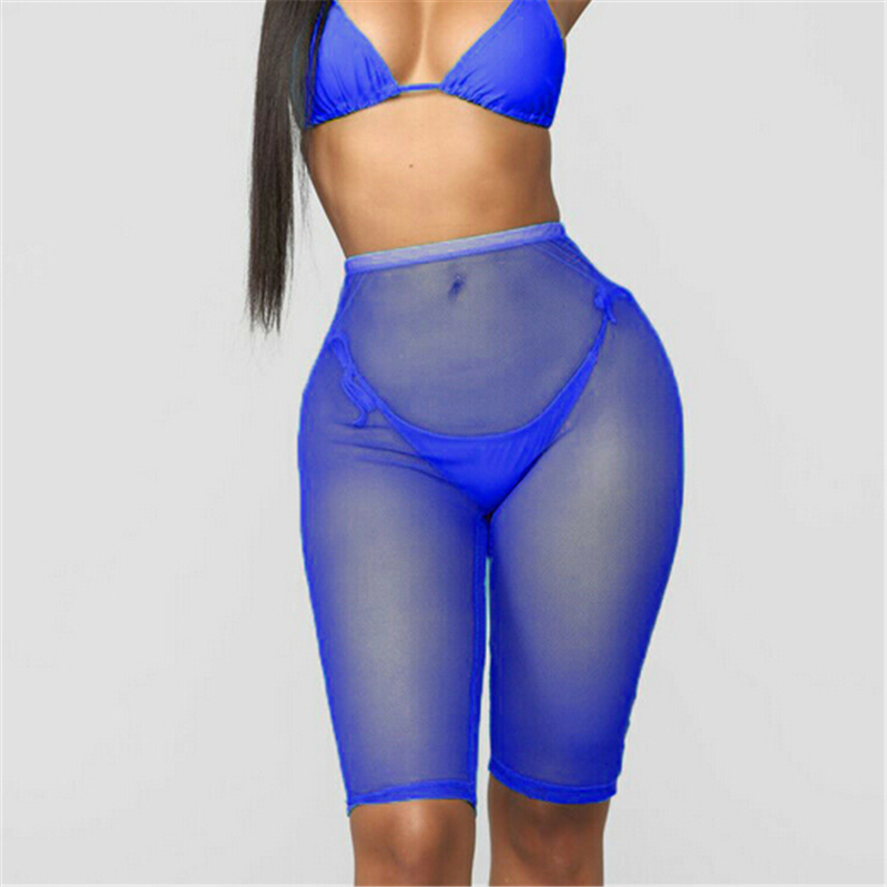 Sexy Women Shorts Summer Ladies Trousers Solid Cover Up Beach Transparent Trousers Casual See Through Women High Waist Shorts