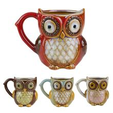 Cute Owl Ceramic Cup Coffee Beer Mug Home Decoration Ornaments Not Easy To Damag Red Brown Blue Beige