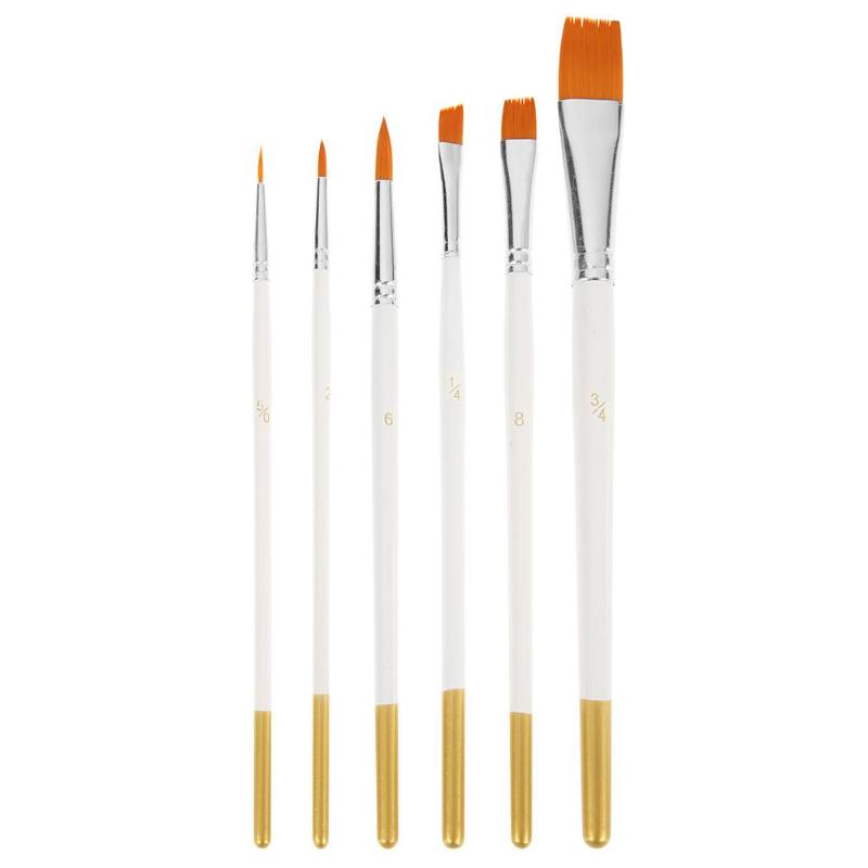 6pcs Nylon Hair Oil Paint Drawing Brushes For Kids DIY Watercolor Oil Acrylic Painting Art Pen Set Supplies