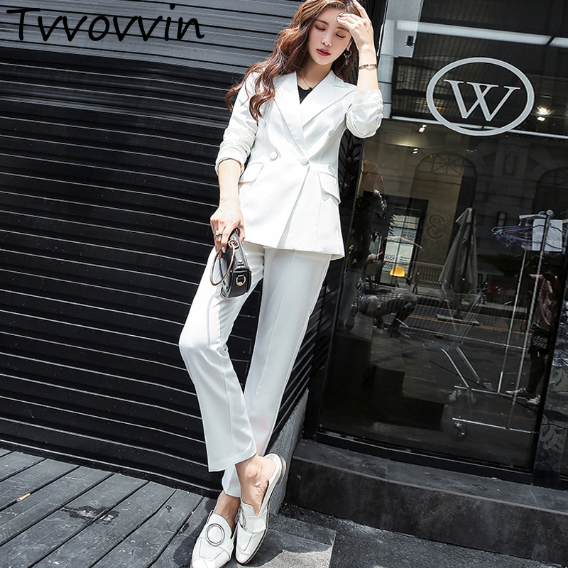 Classic Double Breasted White Women Pant Suits Notched Collar Blazer Jacket Straight Pants Office Ladies Female