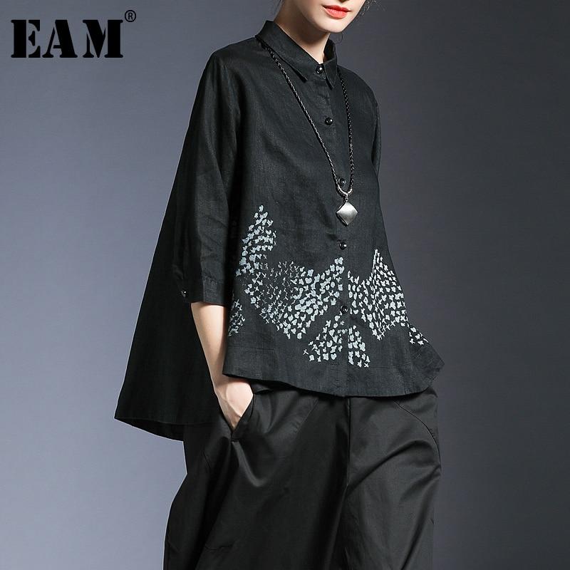 EAM 2019 New Spring Summer Lapel Long Sleeve Black Pattern Printed Irregular Loose Big Size