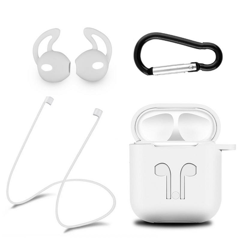 Image 4 - Silicone Soft Protective Case Wireless Bluetooth Earphones Cover Lanyard Anti drop Dust proof Portable Mini Bag For Airpods-in Earphone Accessories from Consumer Electronics