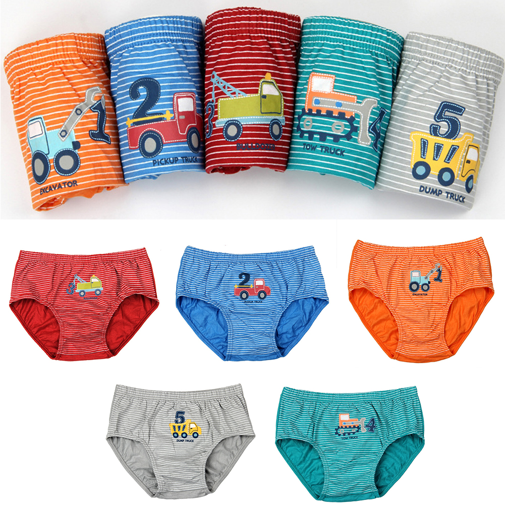 For Boys Children   Panties   Striated Cartoon Cotton Material Breathable Briefs Truck Numbers Printed Comfortable Kid Underwear
