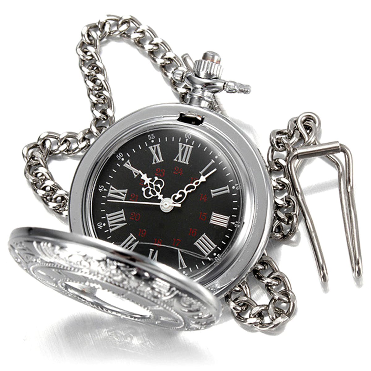 Shellhard New Arrival Hollow Silver Pendant Fob Pocket Watch Roman Numerals Black Dial Quartz Pocket Watch For Men Women