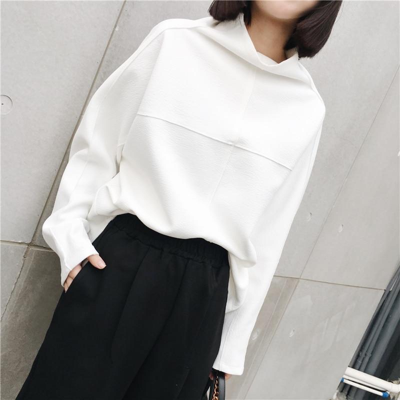 LANMREM 2018 High Quality New Fashion Turtleneck Casual Big Size Tops Female's Long Sleeve Black White Sweatshirt Vestido YE712