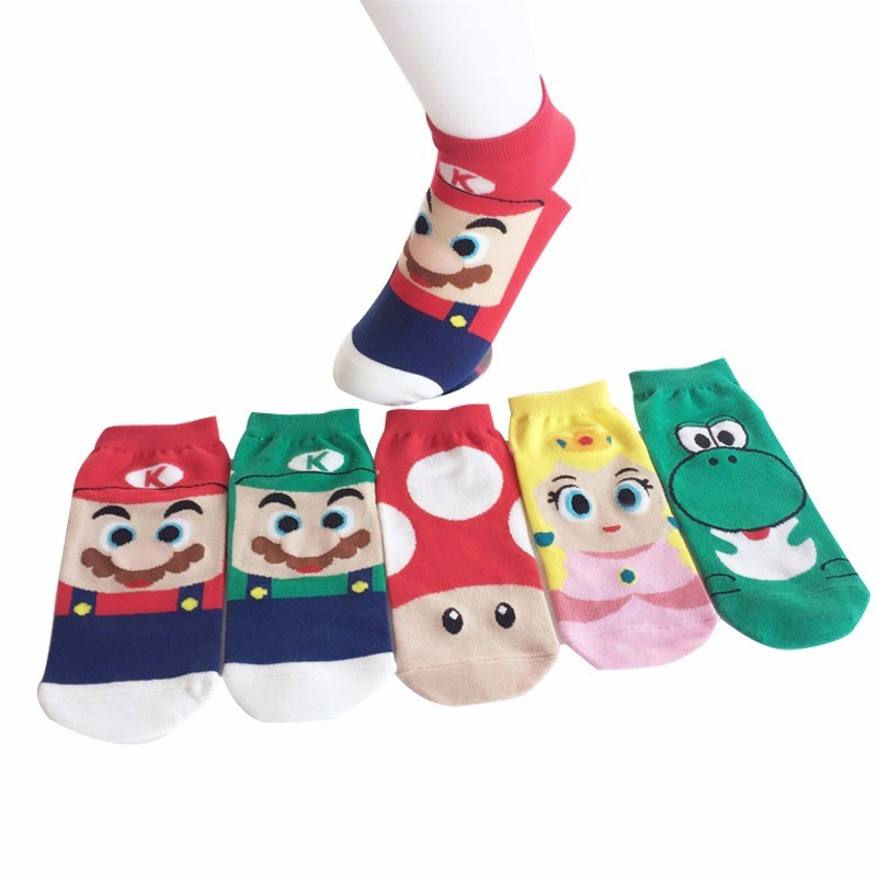5 Pcs/Set Mario Adult Cotton Socks Girls Christmas Gift Men Women Colorful Breathable Cartoon Slippers Short Sock