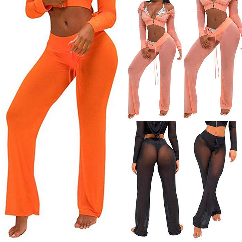 Brand New Women Mesh Sheer Bikini Cover Up   Wide     Leg     Pants   See Through Flared Trousers