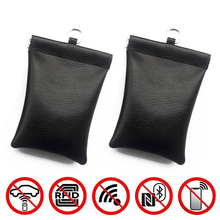 2pcs Anti-theft RFID Signal Blocking Shielding Car Remote Key Cover Case Pouch Bag Genuine Leather