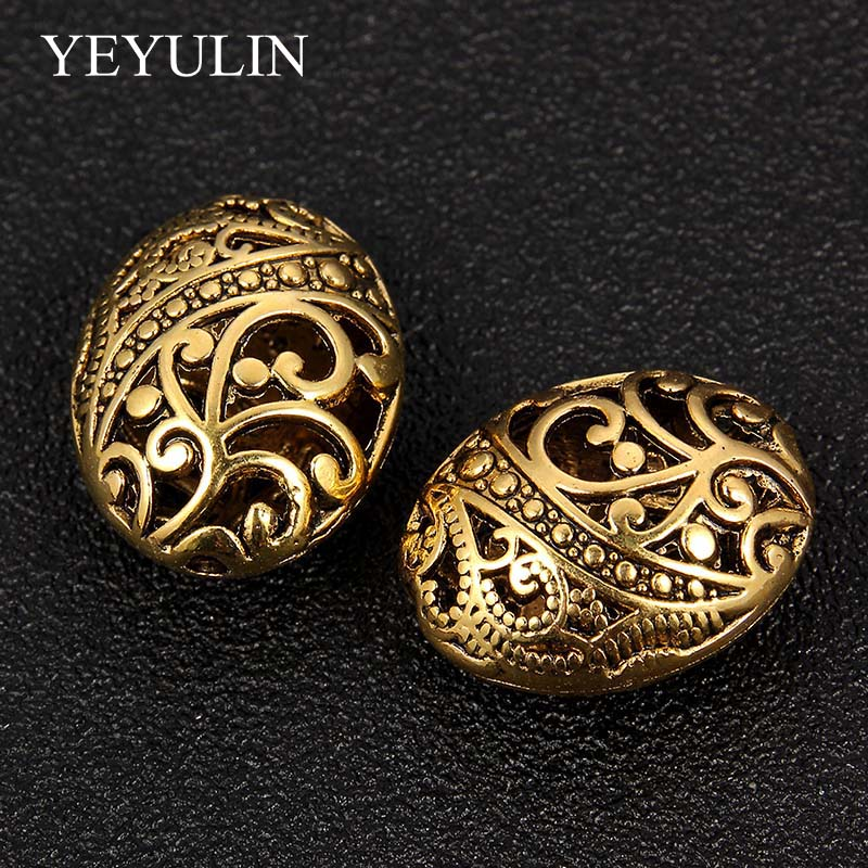 5Pcs Hole Antique Gold Round European Big Hole Beads Spacer Bead For DIY Jewelry Making Charms Bracelets Accessories in Beads from Jewelry Accessories