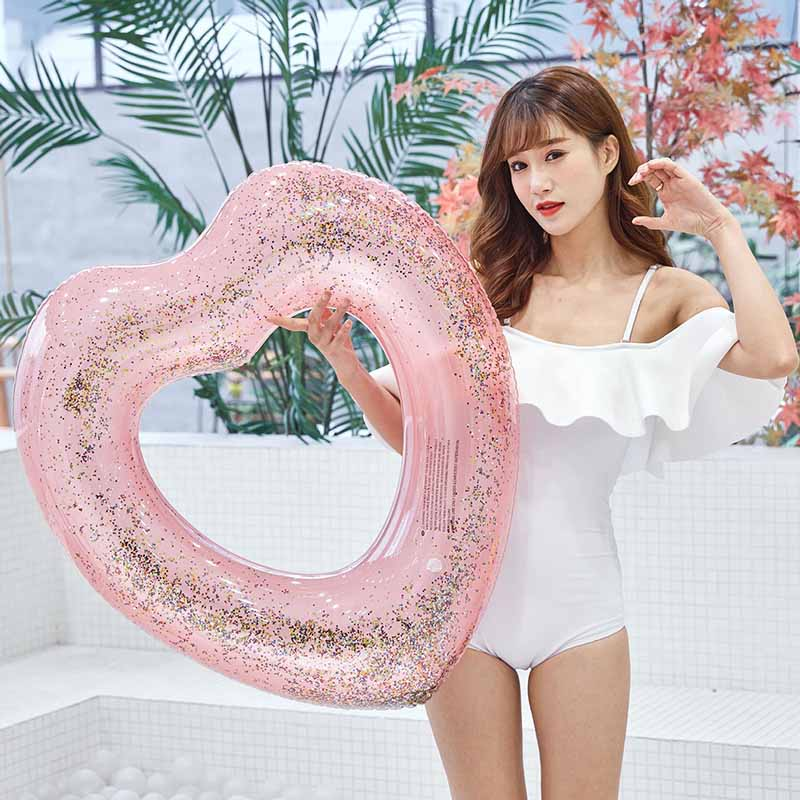 120 CM Heart Shape Inflatable Swimming Ring 90 CM Crystal Sequins Summer Pool Toys Adults Beach Party Water Floats Buoy Boia
